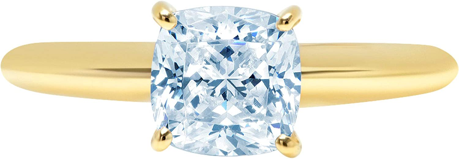 1.9ct Brilliant Cushion Cut Solitaire Aquamarine Blue Simulated Diamond Cubic Zirconia Ideal VVS1 D 4-Prong Engagement Wedding Bridal Promise Anniversary Ring Solid 14k Yellow Gold for Women