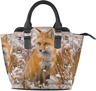 Jennifer PU Leather Top-Handle Handbags Cute Animal Funny Fox Yoga Single-Shoulder Tote Crossbody Bag Messenger Bags For Women
