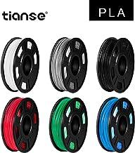 TIANSE 6 colores PLA Filament 1.75 mm, PLA Filamento de Impresora 3D, Filamento PLA 1.75 mm, Precisión Dimensional +/- 0.03 mm, 1.8 kg(300 g/spool), Negro/Blanco/Plata/Azul/Rojo/Verde
