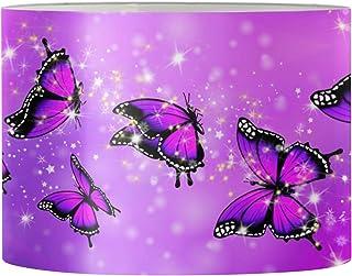 Aulaygo Abat-jour rond violet en forme de papillon pour lampe de table, lampadaire, maison, chambre à coucher, salon, étud...