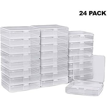 Plastico Almacenaje Caja (Pack de 24) - Transparente Contenedor de Abalorios 7cm x 7cm x 1,8cm de Grosor con Tapa para Pastillas, Hierbas, Hallazgos, Purpurina, Slime y Pequeñas Artículos: Amazon.es: Hogar
