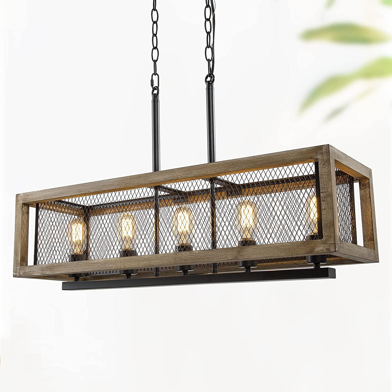 Farmhouse Chandelier 5 Light Rectangular Chandeliers For Dining Room 32 Rustic Kitchen Island Lighting With Wood And Black Metal Finish Amazon Com