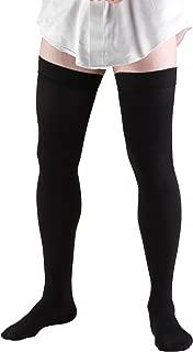 Truform Compression Socks, 20-30 mmHg, Men's Dress Socks, Thigh High Over Knee Length, Black, Large