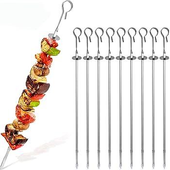 Neu 20x Wiederverwendbar Edelstahll Spieße für Grill Barbecue BBQ Kebab 35cm