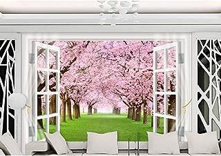 GUDOJK Mural 3D Wall Paper Mural Non-Woven 3D Room Wall Paper Cherry Blossom Window 3 d TV Setting Wall Photo 3D Wall murals Wall paper100150cm