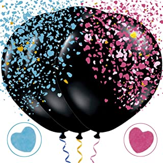 Gender Reveal Balloons Jumbo 36 inch Black Gender Reveal Balloon with Confetti Blue and Pink for Boy or Girl Baby Shower Gender Reveal Party Supplies Decoration Kit of 2019 BALLOON (3PCS)