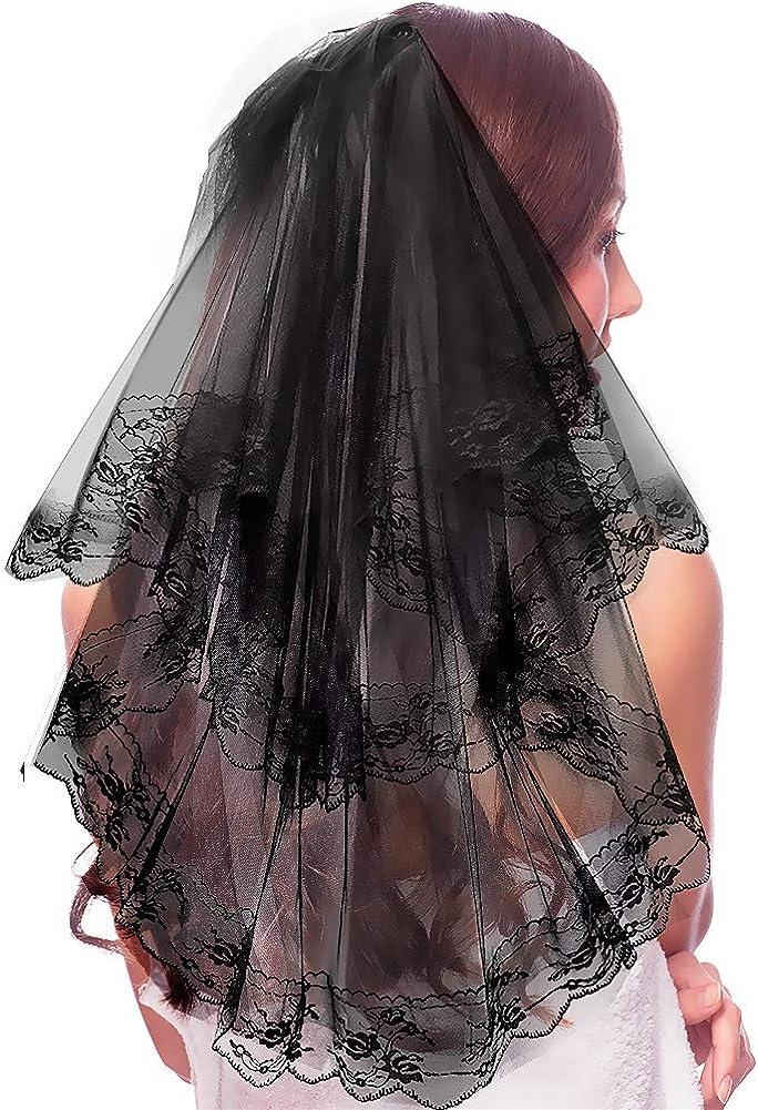 Allnice Bridal Veil Double Layer Mesh Lace Wedding Veil Waist Length