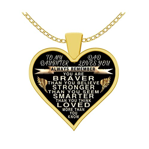 fe0c5e9f To my daughter - from dad - always remember quote heart pendant necklace