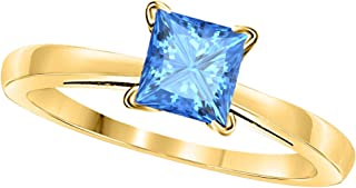 14k Gold Plated Alloy White/Yellow/Rose/Black 0.75CT Princess Cut Created Blue-Topaz Solitaire Ring Wedding Engagement Rings Sizes 4 to 11