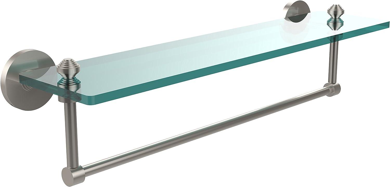 Allied Brass SB-1TB 22-SN Glass Shelf with Towel Bar, 22-Inch x 5-Inch