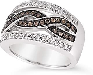 .925 Sterling Silver Chocolate Brown and White Diamond Braded Multi Band Ring For Women 7/8 Carats