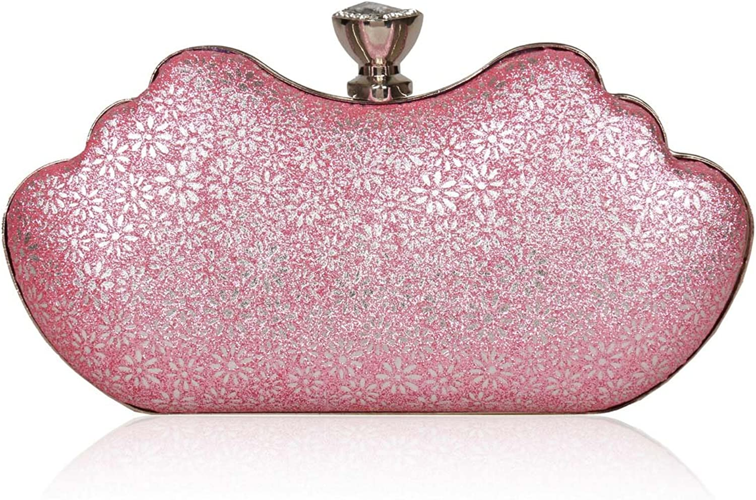 Damara Women Glitter Flower Rhinestone Clasp Hardcase Wedding Handbag