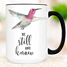 Pink Hummingbird Coffee Mug | Be Still and Know | Microwave Dishwasher Safe Ceramic Cup