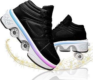 Garçons Fille De Chaussures À roulettes De Skateboard Chaussure De Sport avec Rouleau Rétractables Baskets Kick Roller Shoe