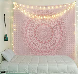 Tapestry Wall Tapestry Wall Hanging Tapestries Sparkly Pink Rose Gold Ombre Mandala Tapestry Large Indian Mandala Wall Hanging Bohemian Hippie Bedspread Wall Art