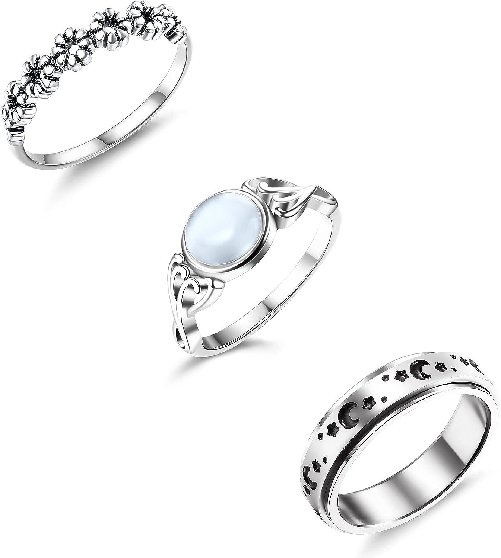 HANPABUM Super beauty product restock quality top! 3 Bargain sale PCS Stainless Steel Fidget Band Stress for Women Ring