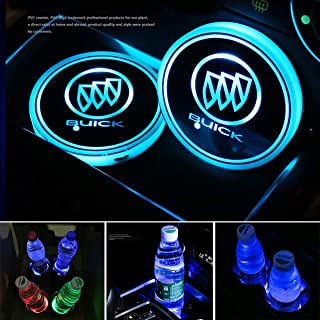 2pcs LED Car Cup Holder Lights for Buick, 7 Colors Changing USB Charging Mat Luminescent Cup Pad, LED Interior Atmosphere Lamp
