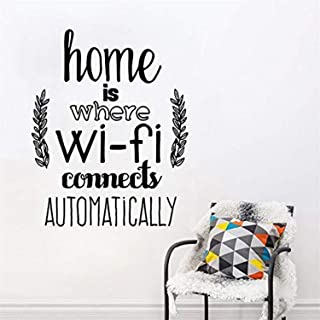 Studio Moll Home Home is Where WiFi Connected Quote Living Room Family Love Design - Wall Decals Mural Decor Vinyl Z11421