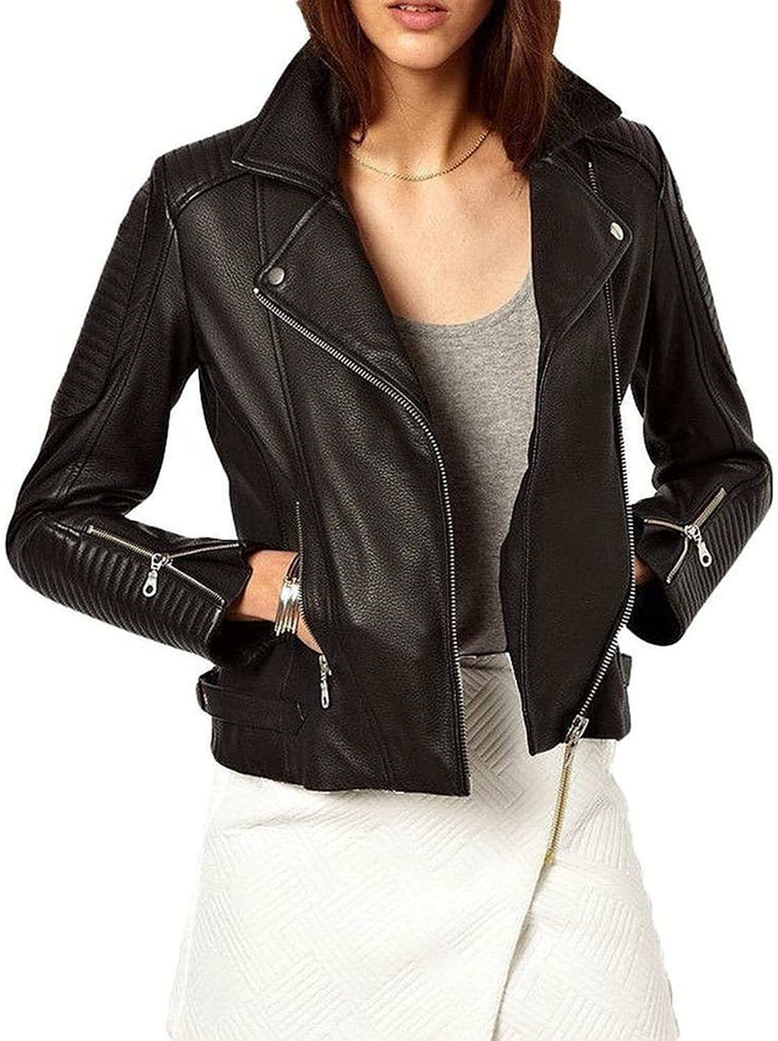 New Motorcycle Designer Styles Womens Lambskin Leather Jacket LTW412