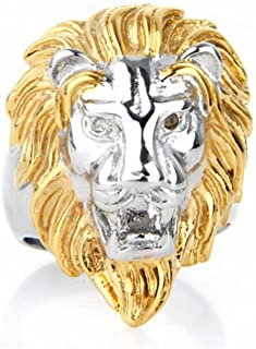 Daesar Stainless Steel Ring Engagement Rings for Men Lion Head Silver Gold Ring Size 7-15