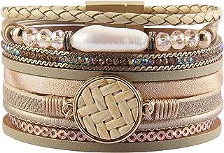 Leather Wrap Around Bracelet Multi Rope Boho Bracelets Cuff Bracelets Baroque Pearls Handmade Bohemian Jewelry for Women, Teens Girl, Daughter, Sister Gifts