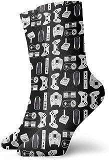 Kevin-Shop, Calcetines Casuales Coloridos geniales - Novedad Calcetines Divertidos de Vestir Casuales Videojuego Arma Funny Gamer Black