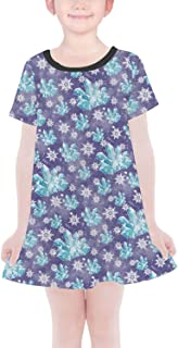 Rainbow Rules Frozen Snowflakes and Crystals Girls T-Shirt Dress