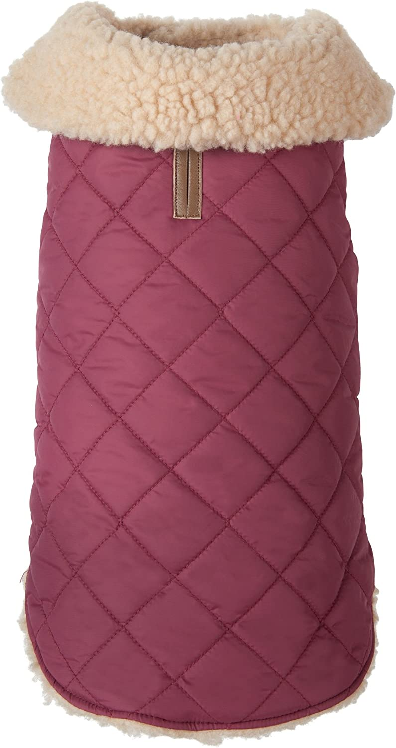 Fab Dog Quilted Shearling Dog Jacket, Burgundy, 22Inch Length