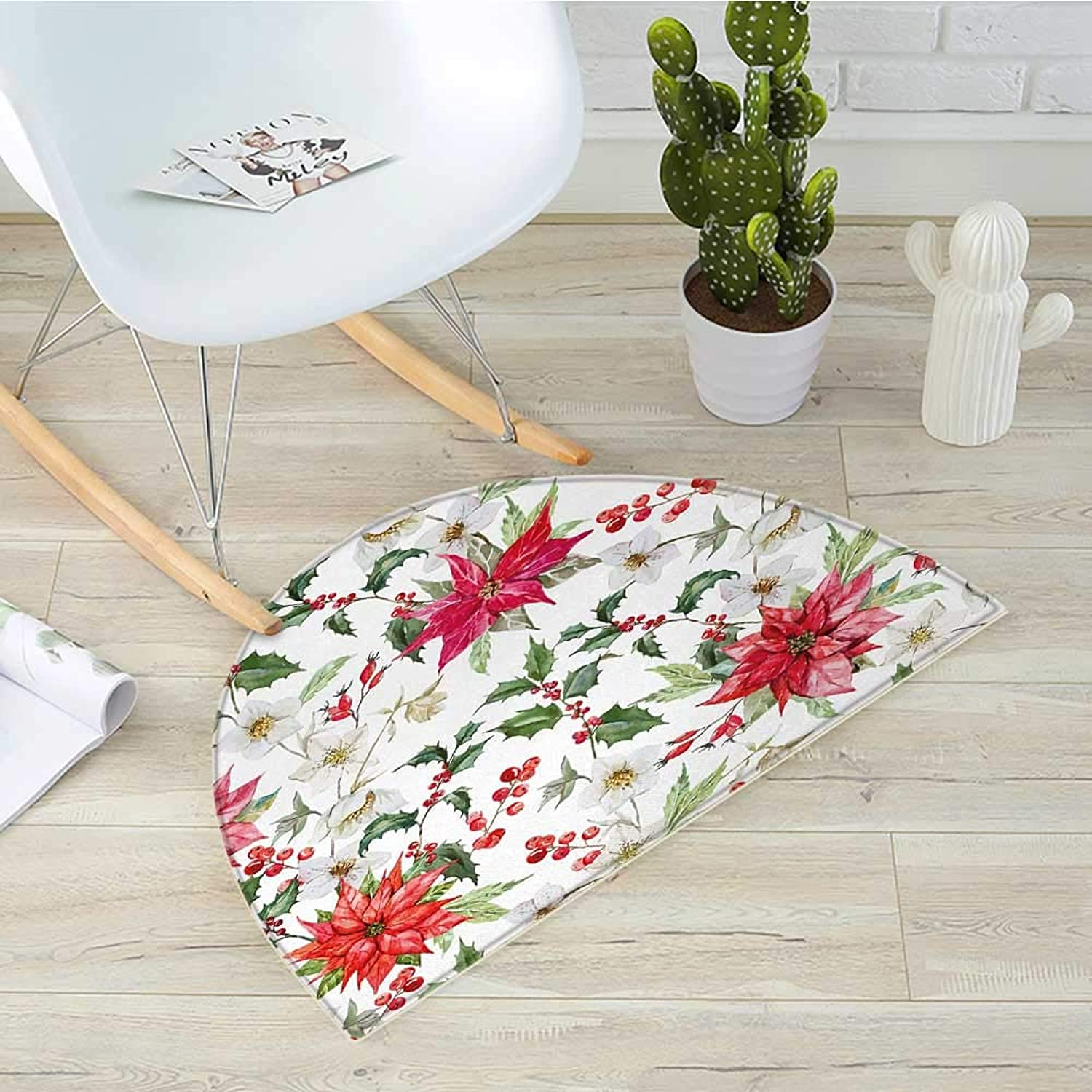 Floral Semicircular CushionChristmas Flowers Pattern in Watercolors Buds Branches Natural Spring Artwork Entry Door Mat H 43.3  xD 64.9  Pink Green White