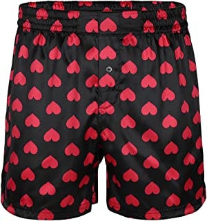 inlzdz Men's Silky Satin Love Heart Print Boxer Shorts Summer Lounge Sports Shorts Pants