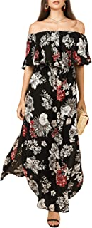imesrun Womens Off Shoulder Floral Party Dress Side Split Boho Ruffle Maxi Dress