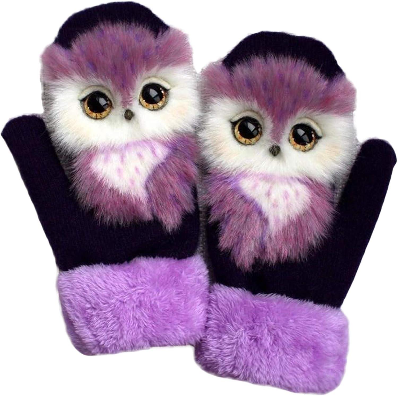 Handmade Plush Cartoon Cat Bear Wolf Fox Owl Panda Winter Gloves for Women, Warm Wool Lined Gloves with Doll