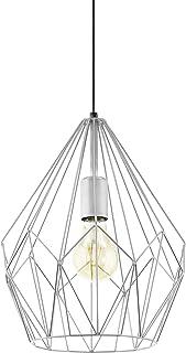 EGLO Lustre Carlton, 1 Suspension à Flamme Vintage, Lampe Suspendue Rétro en Acier, Couleur : Argent, Douille : E27
