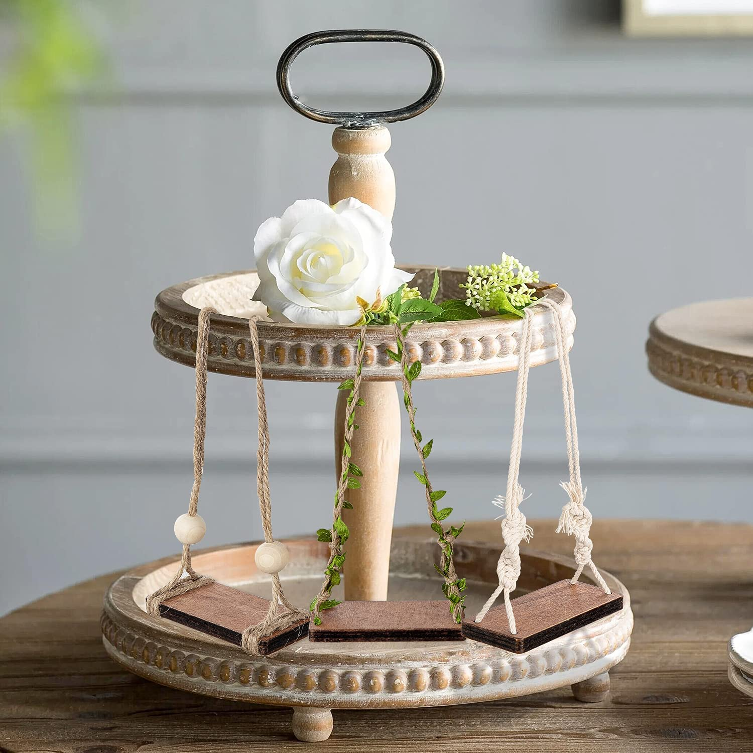3Pcs Farmhouse Tiered Tray Swings Decoration Rustic Wooden Tiered Tray Decoration Farmhouse Country Style Decor Shelf Sign Swing Wood Bead Decor for Summer Farmhouse Stand Display Photo Prop