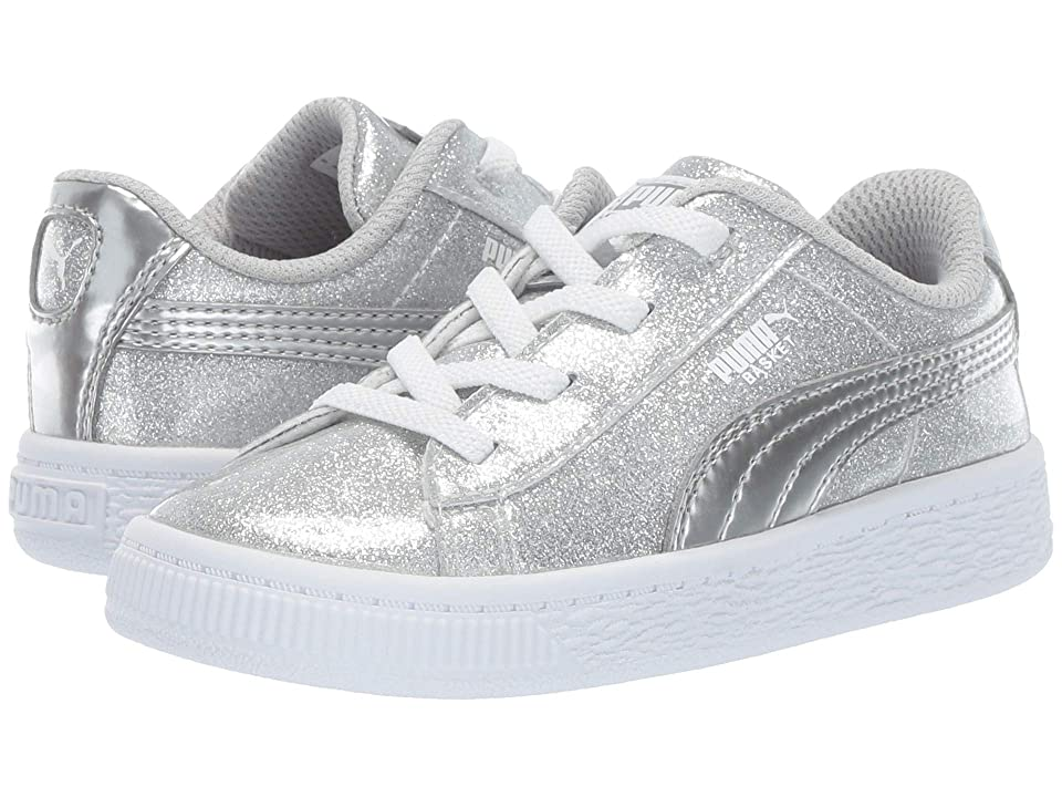 Puma Kids Basket Metallic Slip-On (Toddler) (Puma Silver/Gray Violet/Puma White) Kids Shoes