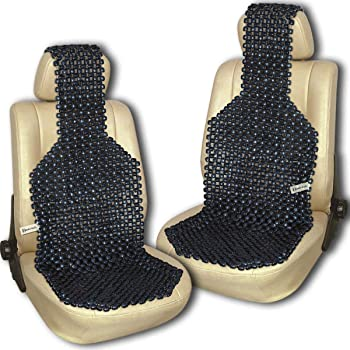 Amazon Com Zento Deals Pair Of Black Premium Quality Natural Wooden Beaded Seat Massage Cushion Universal Good Ventilation Car Seat Cushion Automotive