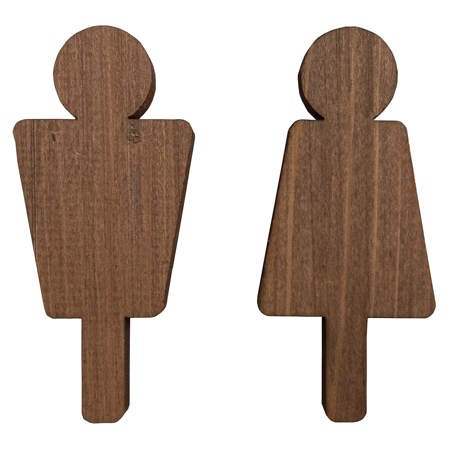 かる倒産クランプ木製サインプレート トイレマーク 抜き型 国産ヒノキ (ブラウン)