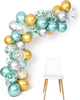 Mint Gold Silver Metallic Balloons Arch Kit 12inch 50pcs for Baby Shower Jungle Theme Party Supplies Birthday Bridal Shower Wedding Decorations