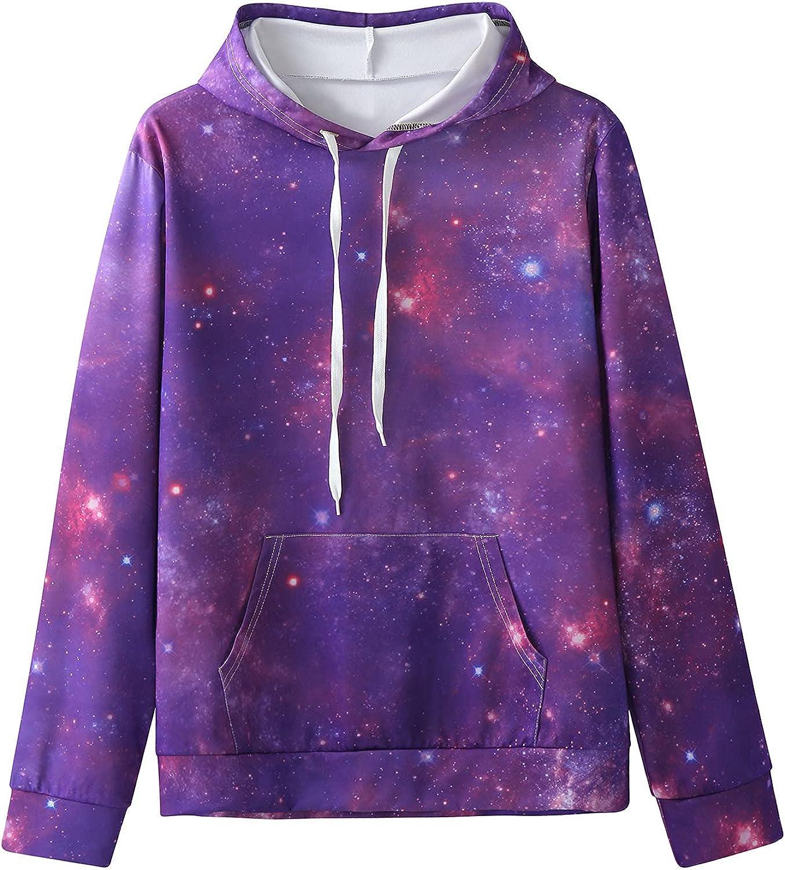 XXBR Hoodies for Mens, 3D Digital Galaxy Printed Long Sleeve Hooded Sweatshirts Fall Drawstring Slim Fit Novelty Tops
