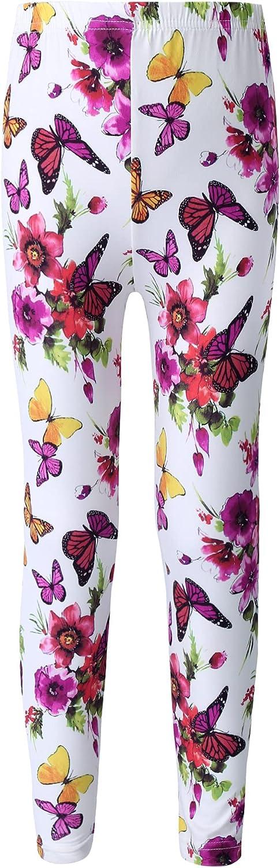 Agoky Teen Girls' Colorful Flowers Print Milk Silk Stretch Leggings Pants Gymnastic Yoga Ankle Length Tight Pants