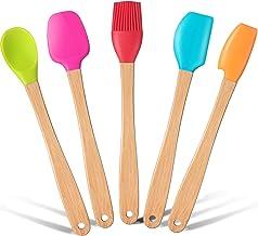 Wood Handled Mini Spatula Mini Silicone Baking Spatulas Set Silicone Brush with Wooden Handles, Spoon, Spatula for Kitchen...