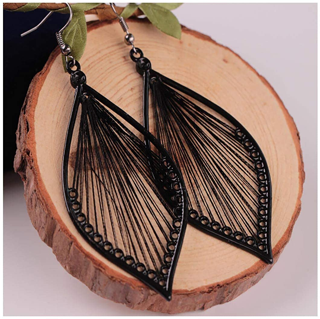 Fdesigner Boho Woven Geometric Earrings Drop Black Jewelry Fashion Silk Earring Dangle for Women and Girls