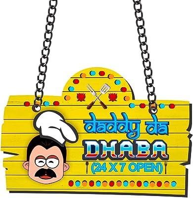 Yaya Cafe for Dad Daddy da dhaba Wall Door Hanging - Yellow