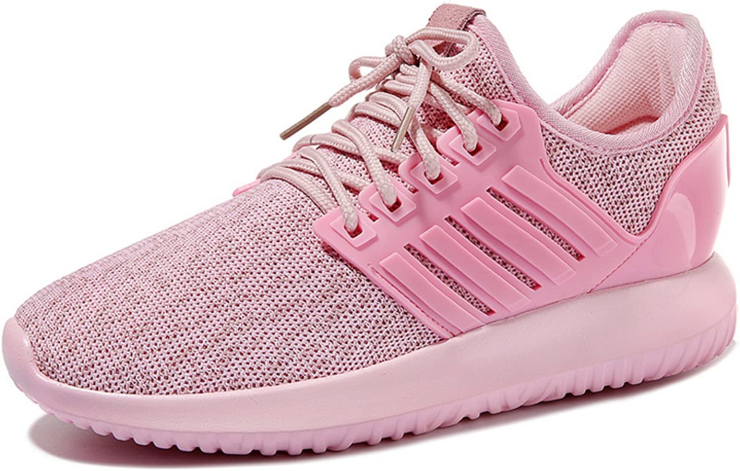 Lusam feeling Womens Knit Running shoes Woman Casual Lightweight Athletic Sneakers Breathable Cloth on Top Pink