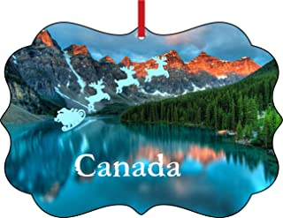 Santa Klaus and Sleigh Riding Over The Canadian Rockies, Canada Elegant Semigloss Aluminum Christmas Ornament Tree Decoration - Unique Modern Novelty Tree Décor Favors