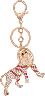Giftale Red Lion Keychain for Women Cute Bag Charms Crystal Rhinestone Pendant Car Key Ring