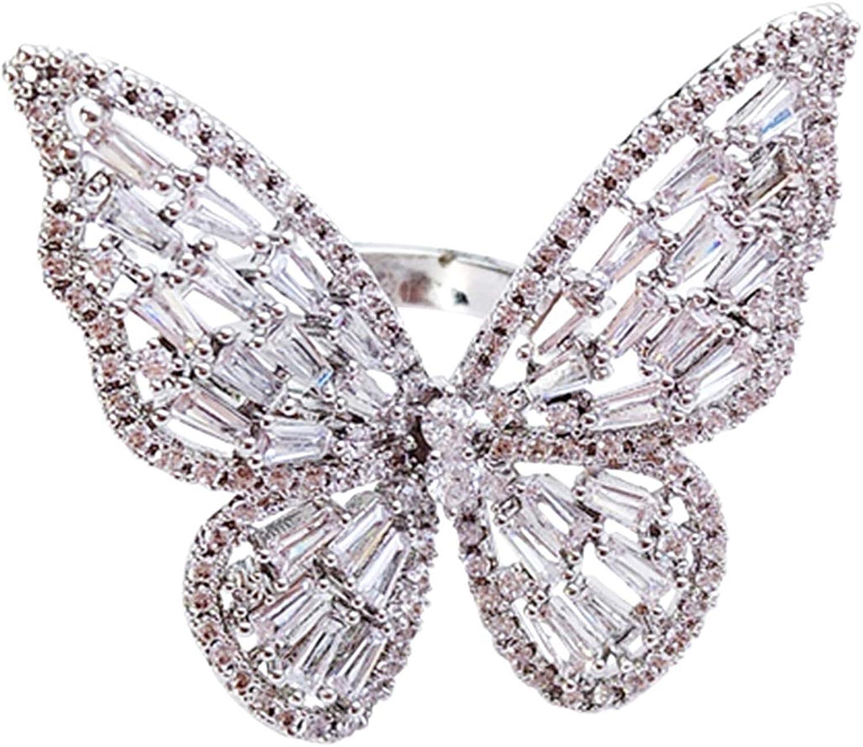 URDEAR Sparkling Butterfly Ring Cubic Zirconia Open Statement Adjustable Butterfly Rings Weddings Jewelry Gifts for Women Girls