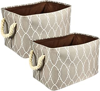 Nati Lot de 2 Paniers de Rangement Pliable, Boîte de Rangement en Tissu pour Livre Jouet, Poignée en Corde de Coton, Organ...