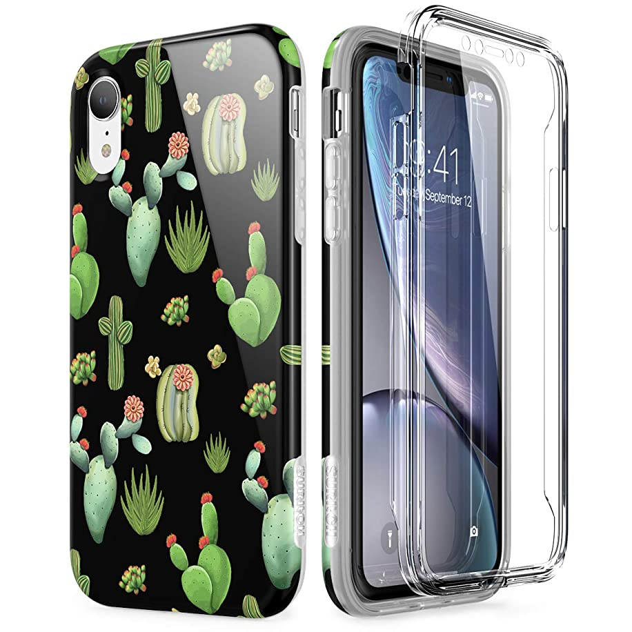 SURITCH Cartoon iPhone XR Case, [Built-in Screen Protector] Full-Body Protection Hard PC Bumper + Glossy Soft TPU Rubber Gel Shockproof Cover for iPhone XR- Green Cactus