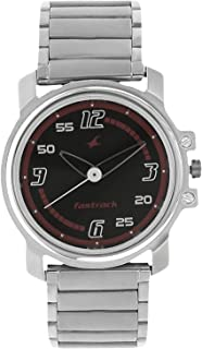 3039SM08 - Fastrack ANALG Men's, 50m Water Resistant, Metal, Silver with Black and Red Dial